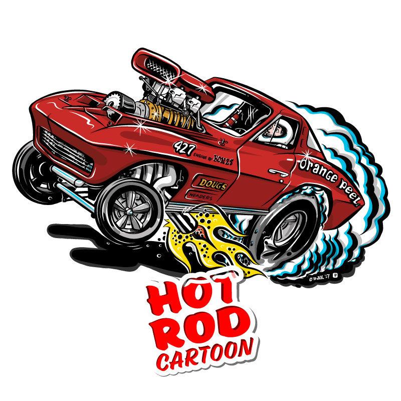 1963 Corvette Hot Rod Cartoon T-Shirt