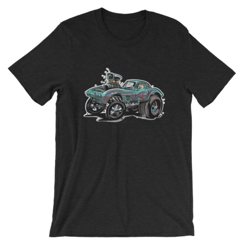 1963 Corvette Gasser Hot Rod Cartoon Black T-Shirt | hotrodcartoon.com
