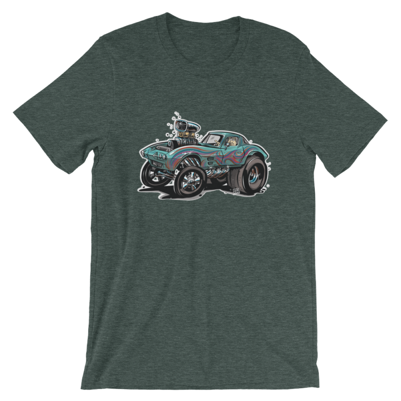 1963 Corvette Gasser Hot Rod Cartoon Green T-Shirt | hotrodcartoon.com