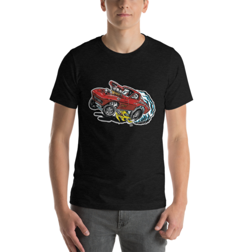 1963 Corvette Drag Car - Hot Rod Cartoon T-Shirt