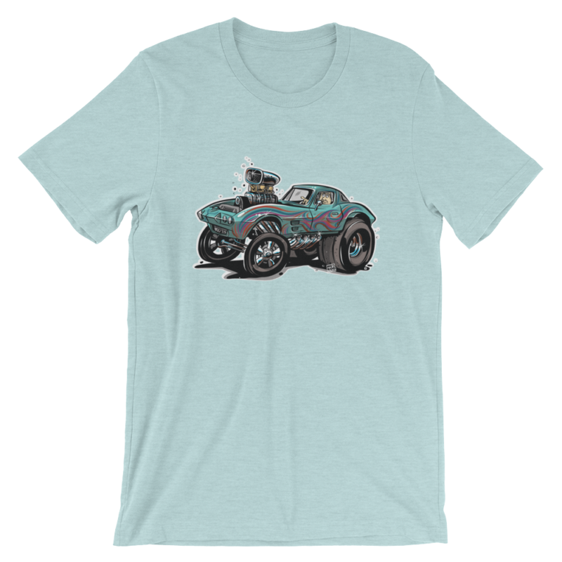 1963 Corvette Gasser Hot Rod Cartoon Aqua T-Shirt | hotrodcartoon.com