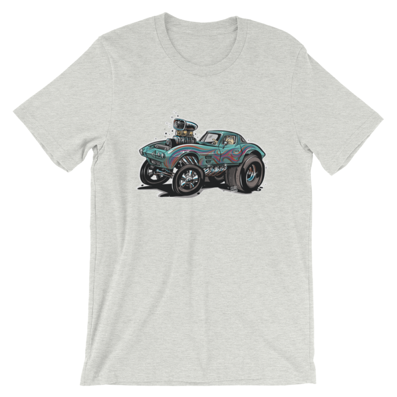1963 Corvette Gasser Hot Rod Cartoon T-Shirt | hotrodcartoon.com