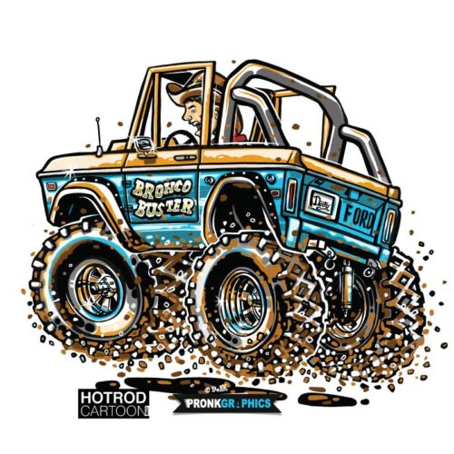 Bronco Buster - Hot Rod Cartoon T-Shirt
