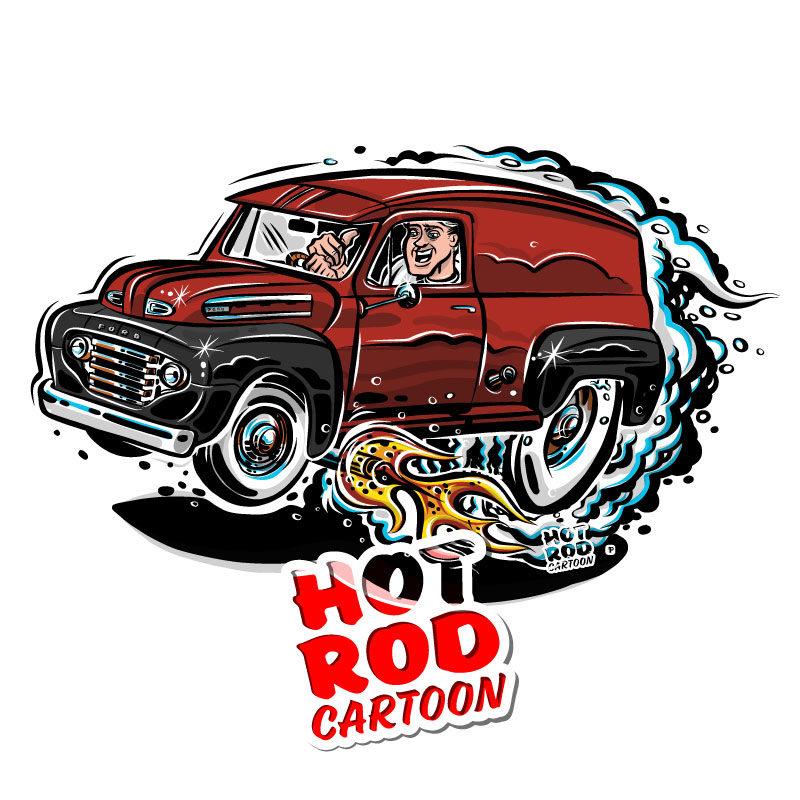 1948 Ford F1 Panel Truck Hot Rod Cartoon | hotrodcartoon.com