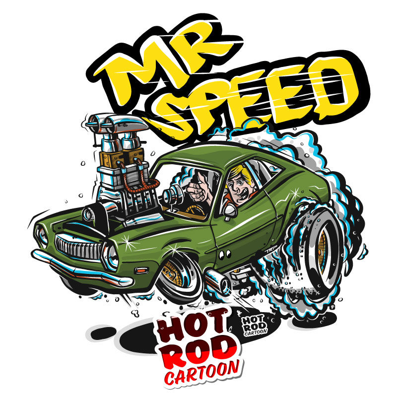 Mr. Speed Ford Pinto Hot Rod Cartoon T-Shirt
