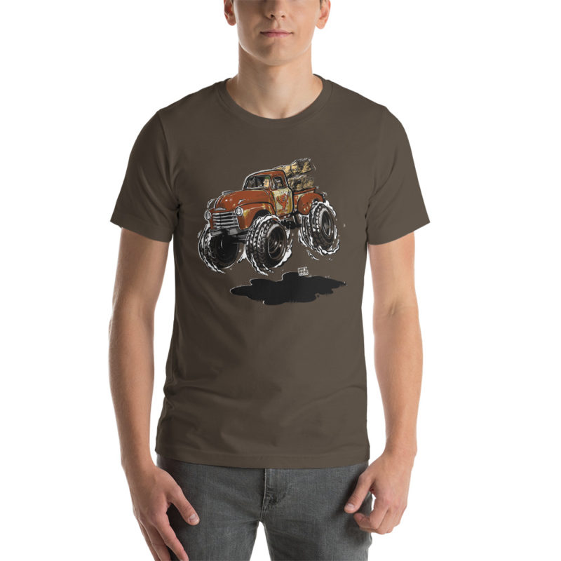 1948 Chevy 3100 Patina Pickup Truck T-Shirt Army | Hot Rod Cartoon