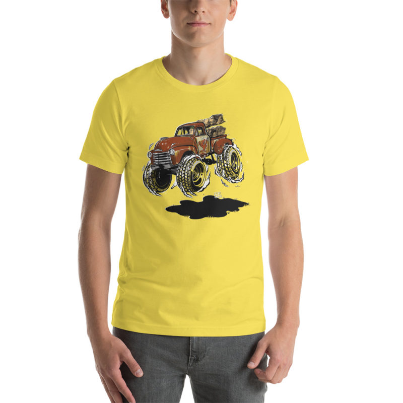 1948 Chevy 3100 Patina Pickup Truck T-Shirt Yellow | Hot Rod Cartoon