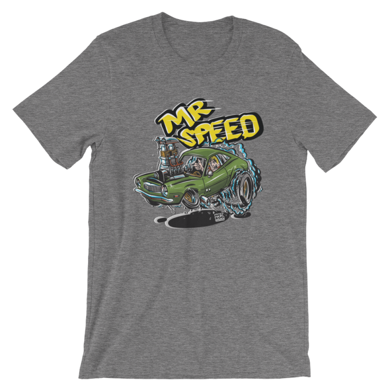 Mr. Speed Ford Pinto Hot Rod Cartoon T-Shirt - Heather Grey