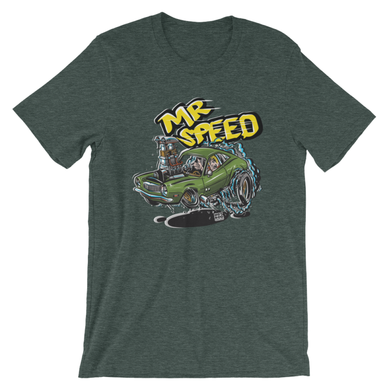 Mr. Speed Ford Pinto Hot Rod Cartoon T-Shirt - Heather Green