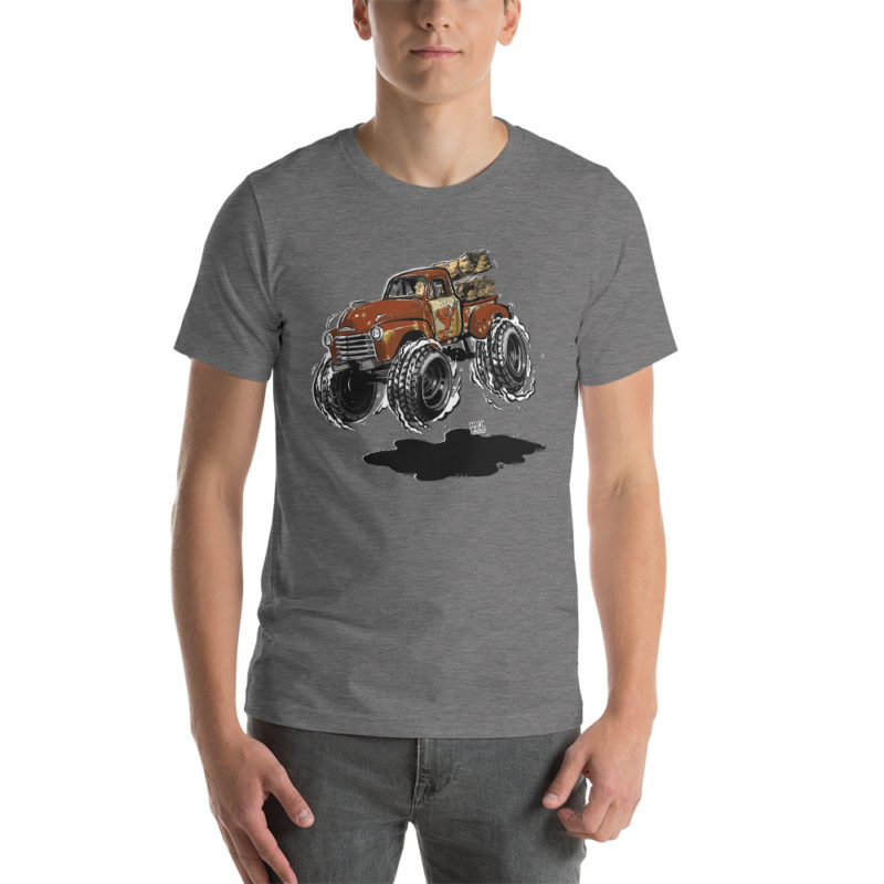 1948 Chevy 3100 Patina Pickup Truck T-Shirt Heather Grey | Hot Rod Cartoon