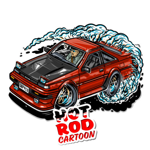 Nissan S12 T-Shirt. Hot Rod Cartoon.